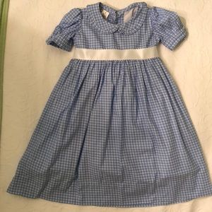 Blue and white check dress